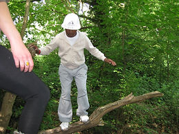 learning to balance at Forest School