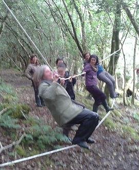 playing on the ropes at Forest School training