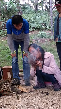 making fire at Forest School training