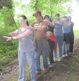blindfold trail at Forest School training