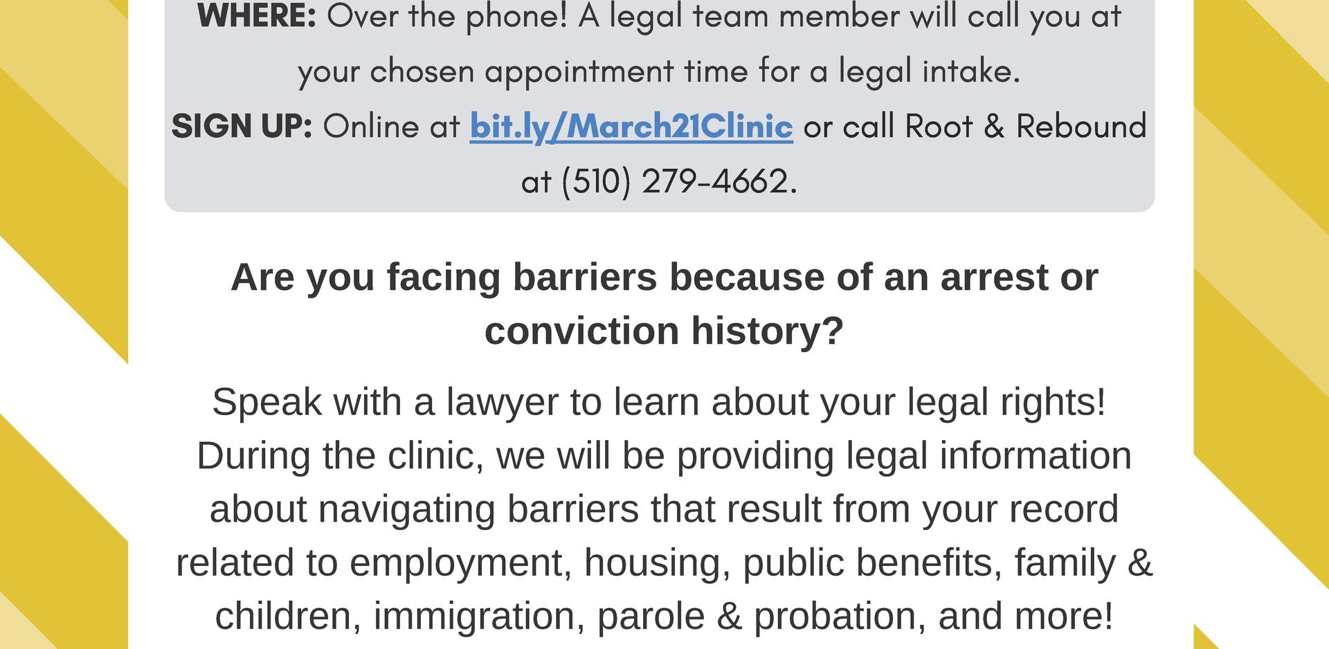Free Virtual Reentry Legal Clinic