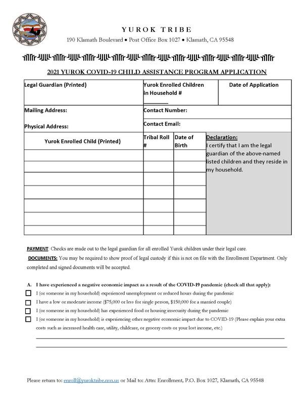 2021 Yurok Covid-19 Child Assistance Program Application