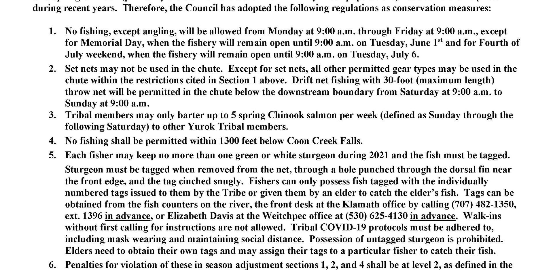 In-Season Adjustment to the Yurok Tribal Fishing Rights Ordinance