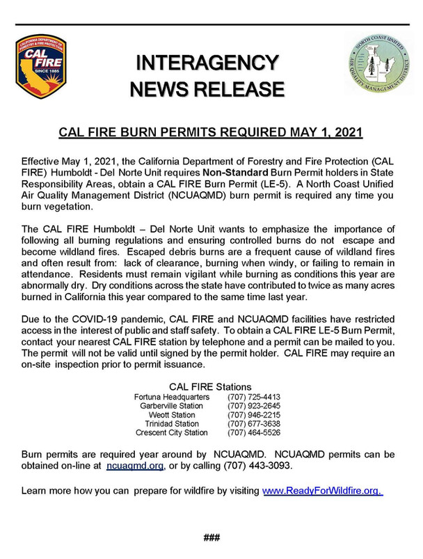 CAL FIRE BURN PERMITS REQUIRED MAY 1, 2021