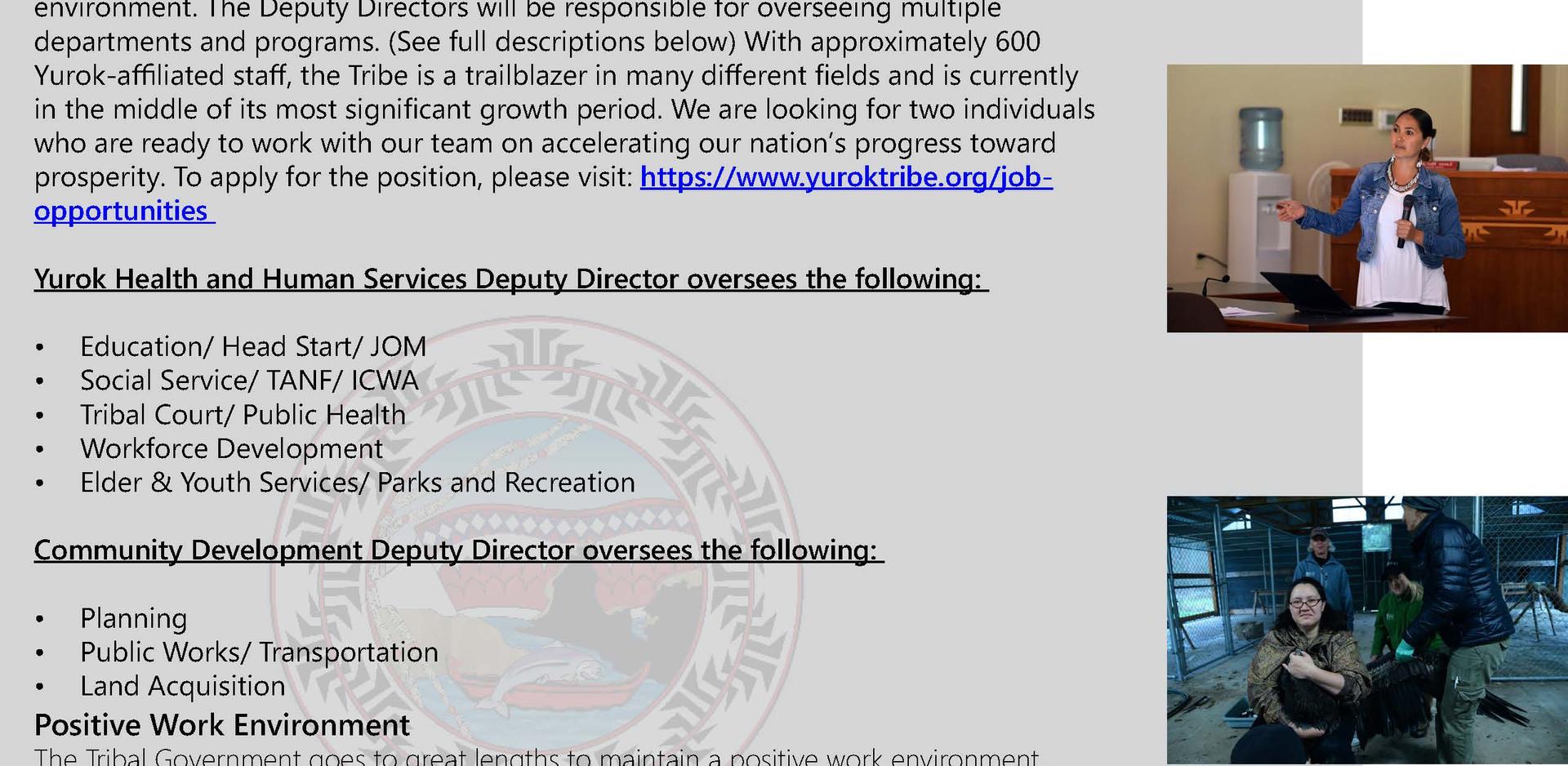The Yurok Tribe is Hiring Two Deputy Directors