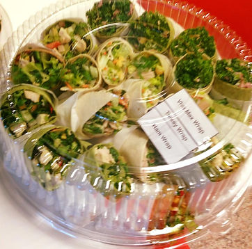 Wraps tray: Healthy option to feed big groups. We customize and cater different needs