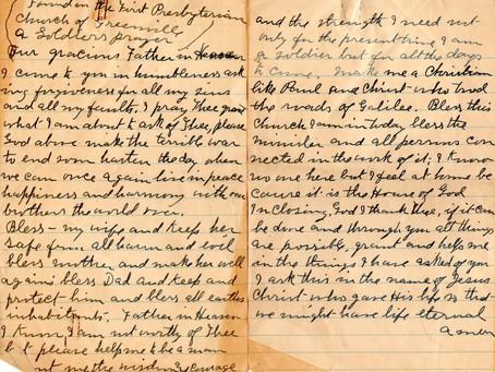 Lost and Found: A World War I Soldier's Prayer