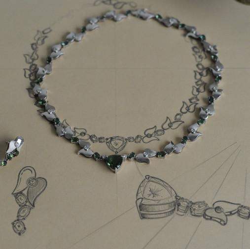 Croquis et maquette d'un collier