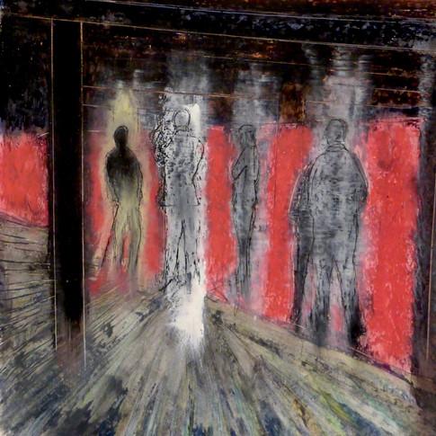 Five Standing Figures in a Gallery