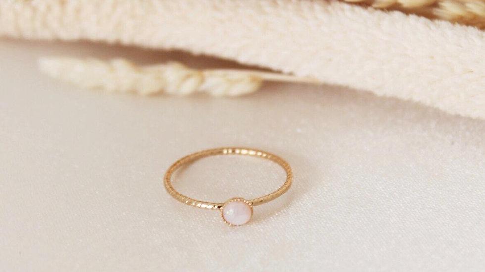 Beyaz Minimal Opal Taş Yüzük