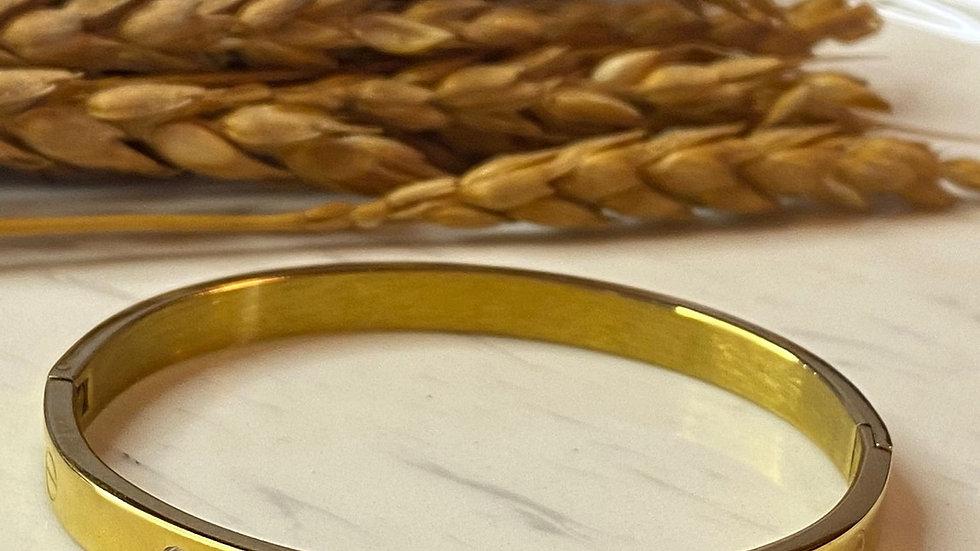Gold Taşlı Kelepçe Bileklik