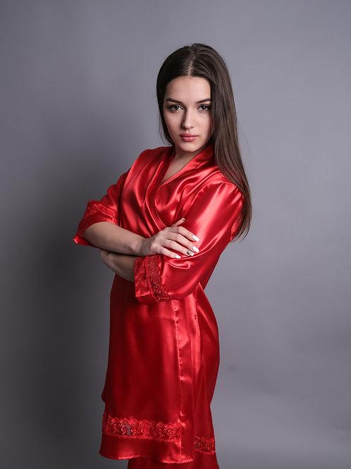 """Женский атласный халат """"Red Beluchi"""""""