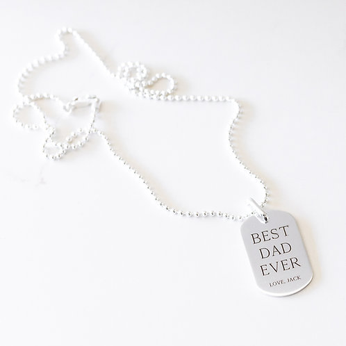 Tag Necklace Sterling Silver