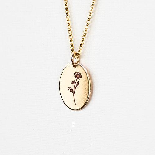 April Flower Oval Gold