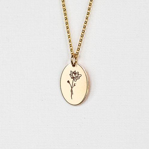 July Flower Oval Gold