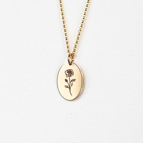 June Flower Oval Gold