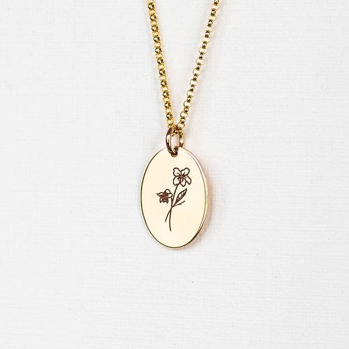 February Flower Oval Gold