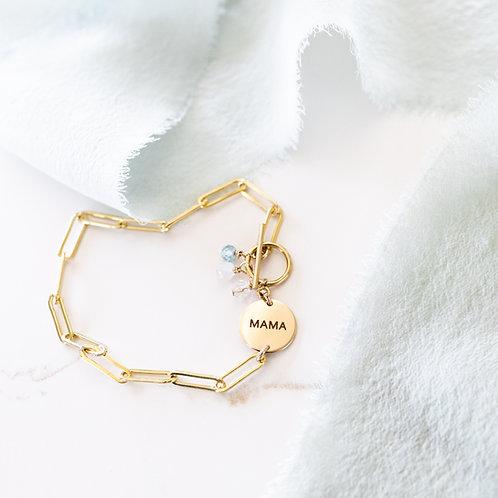 Beloved Link Gemstone Bracelet Gold