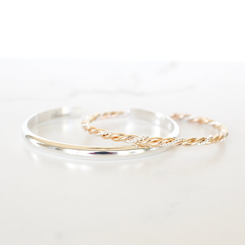 Vow Silver/Gold & Clarity Silver Stack