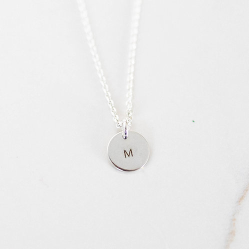 Single Initial Necklace Sterling Silver