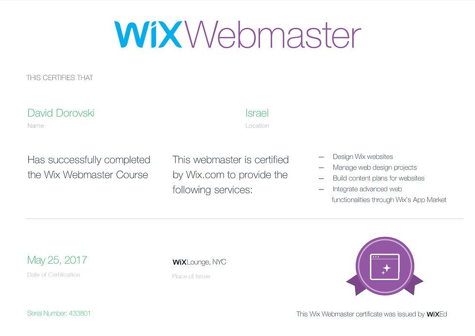 Wix תעודת הסמכה של