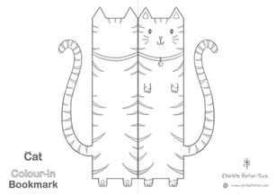 Printable Colour-in Bookmark - Striped Cat