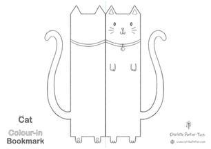 Printable Colour-in Bookmark - Plain Cat