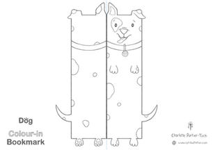 Printable Colour-in Bookmark - Patchy Dog