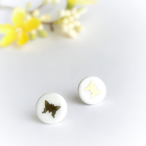Porcelánové náušnice - Pecky zlatý motýl