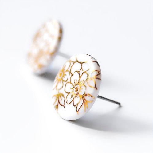 Porcelánové náušnice - Pecky gold - zlaté květy