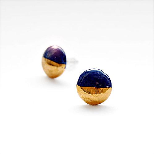 Porcelánové náušnice - Pecky modro zlaté