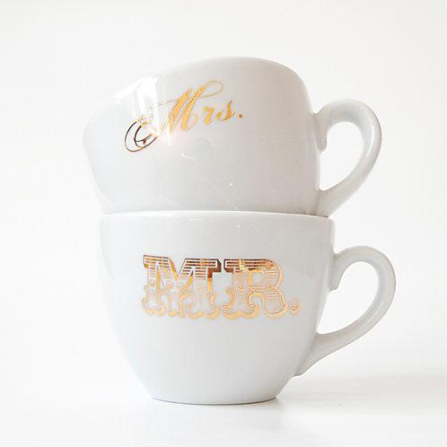 """Hrnek svatební, porcelánový"""" Mrs. and Mr. """" zlatý"""