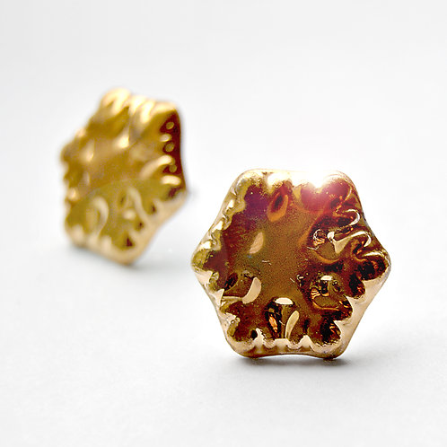 Porcelánové náušnice - Vločky zlaté