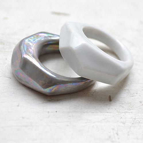 Porcelánový prsten - Krystalix šedý