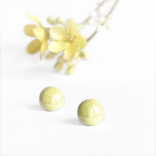 Porcelánové náušnice - Pecky žluté