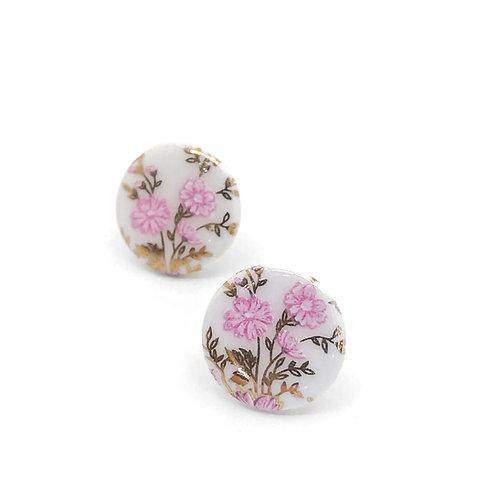 Porcelánové náušnice - Pecky gold zlaté květy