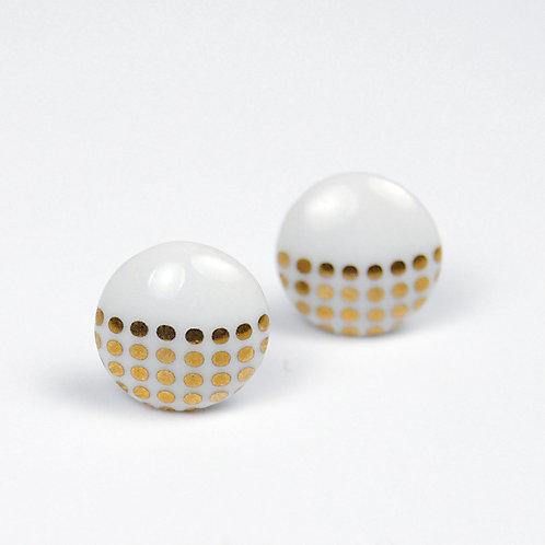 Porcelánové náušnice - Pecky gold - zlaté tečky