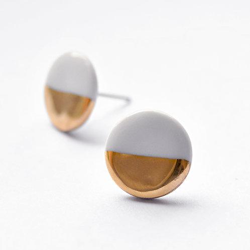 Porcelánové náušnice - Pecky gold