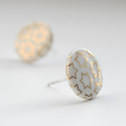 Porcelánové náušnice - Pecky gold, zlaté hvězdy