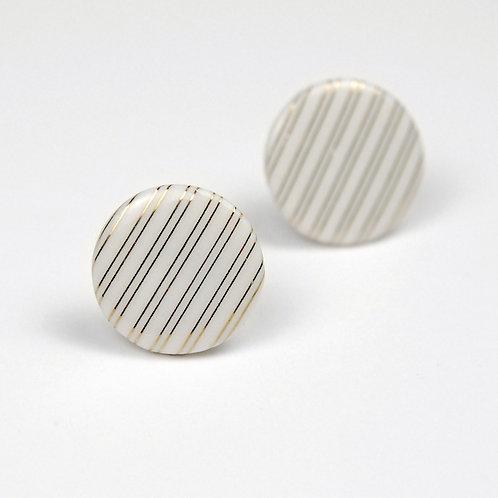 Porcelánové náušnice - Pecky gold proužky
