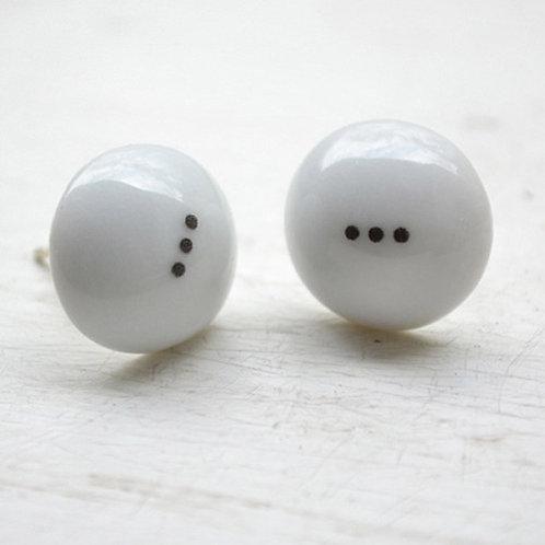 Porcelánové náušnice - Pecky černo bílé, ... tečky