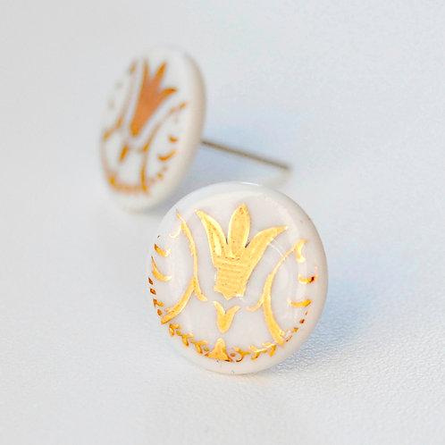 Porcelánové náušnice - Pecky gold vzor