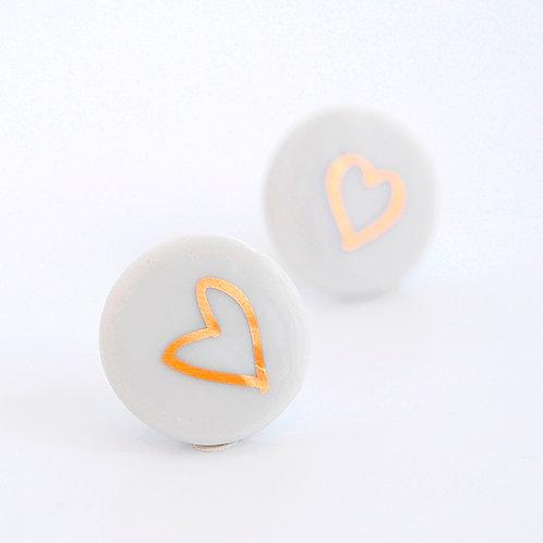 Porcelánové náušnice - Pecky gold - zlaté srdce