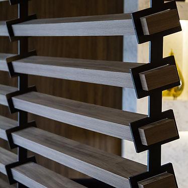 projeto de interioes, ripado de madeira com metal