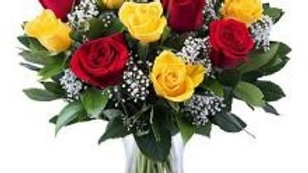 Red And Yellow Roses Vase