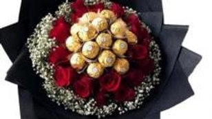 Bouquet Of 16 Roses With 16 Ferrero Rocher Chocolates