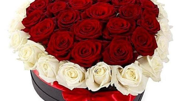 Heart Of Red And White Roses
