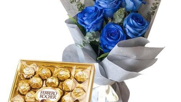 6 Roses & 24 Pcs Ferrero
