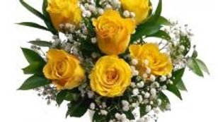 6 Roses In A Glass Vase