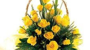 24 Yellow Roses Basket